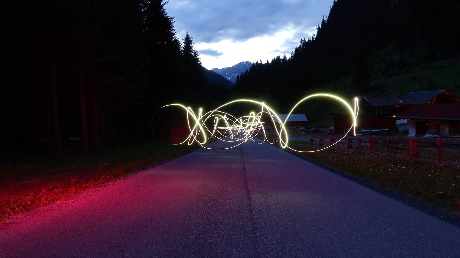 light trail over empty road